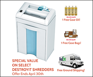 Destroyit Shredders Promotion Free Bags, Oil, Shipping thru April 30th