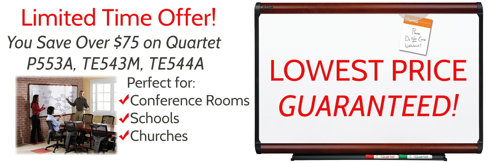 Quartet Whiteboard Clearance Sale