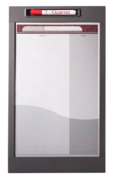 "Quartet 72984 InView Custom Whiteboard, 12"" x 20 1/2"", Total Erase, Graphite Frame"