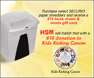 Buy HSM Securio Shredder and get $15 Donation from HSM