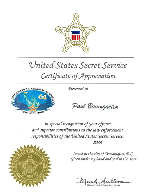 The united states secret service issued a certificate of us sercret service certificate of appreciation to paul baumgarten yadclub Gallery