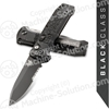 "Benchmade 4400SBK Casbah AUTO 3.4"" Black S30V Drop Point Combo Blade, Black Textured Grivory Handles"