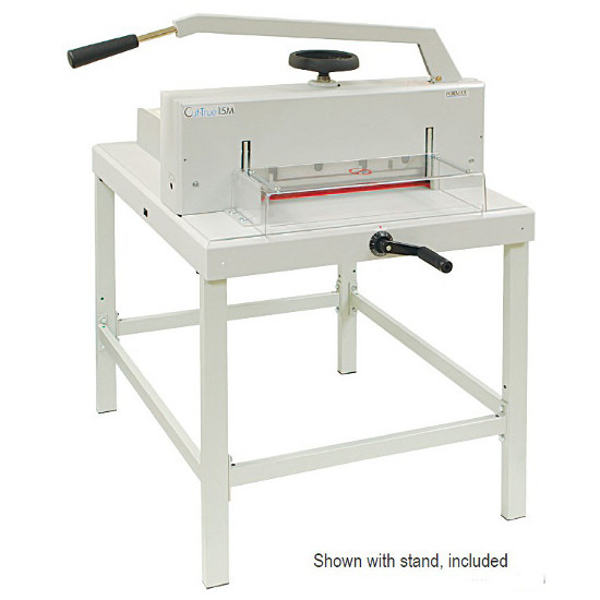 Formax Cut-True 15M Manual Paper Cutter - Shown with stand, included