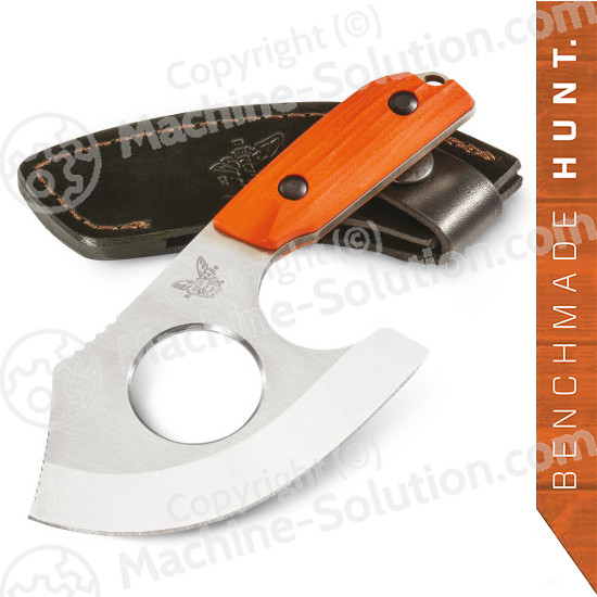 "Benchmade 15100-1 Nestucca Cleaver Fixed 4.41"" S30V Blade with Finger Hole, Orange G10 Handles, Leather Sheath included"