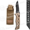 "Benchmade 2750SBKSN Adamas AUTO Folding Knife 3.82"" Black D2 Combo Blade, Desert Tan G10 Handles, Sheath with MALICE CLIP included"