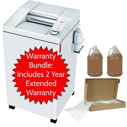 MBM Destroyit 2604 SMC Shredder Warranty Bundle includes 2 year warranty, auto oiler, 1 case of bags, and 2-1 gallon bottles shredder oil MBM Destroyit 2604 SMC Shredder Warranty Bundle includes 2 year warranty, auto oiler, 1 case of bags, and 2-1 gallon bottles shredder oil