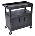 Luxor EC122CE-B High Capacity 2 Flat and 1 Tub Shelf Cart with Cabinet & Electric in Black Luxor EC122CE-B High Capacity 2 Flat and 1 Tub Shelf Cart with Cabinet & Electric in Black