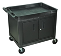 Luxor TC12C-B Tub Top Shelf Utility Cart with Cabinet Luxor TC12C-B Tub Top Shelf Utility Cart with Cabinet