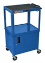 H Wilson W42ABUCE Blue Metal 3 Shelf Presentation Cart with Cabinet H Wilson W42ABUCE Blue Metal 3 Shelf Presentation Cart with Cabinet