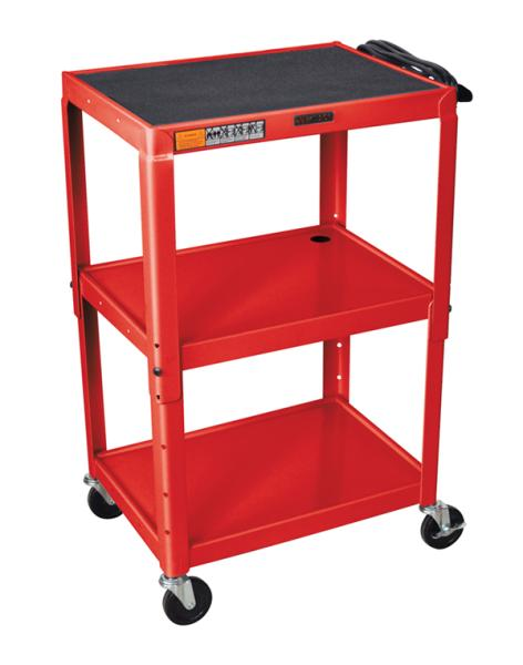 H Wilson W42ARE Red Metal 3 Shelf Presentation Cart H Wilson W42ARE Red Metal 3 Shelf Presentation Cart