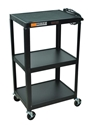 H Wilson W42E Black Metal 3 Shelf Presentation Cart H Wilson W42E Black Metal 3 Shelf Presentation Cart