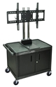 H Wilson WPTV28C2E Black 2 Shelf Mobile Cart with Universal LCD TV Mount & Cabinet H Wilson WPTV28C2E Black 2 Shelf Mobile Cart with Universal LCD TV Mount & Cabinet