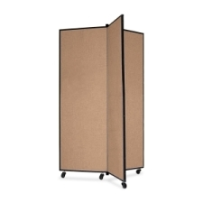 Screenflex Panel Mobile Display Tower 69, 69 x 36, oatmeal polyester fabric, polyester fabric, screenflex, scratch resistant, steel, panel mobile display tower, bulletin board, screenflex, cds603co, 1 each, floor standing, rectangle, oatmeal, art, lobby display, presentation, scrflxcds603co, 44111907