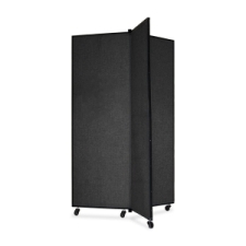 Screenflex Panel Mobile Display Tower 69, 69 x 36, black polyester fabric, polyester fabric, screenflex, scratch resistant, steel, panel mobile display tower, bulletin board, screenflex, cds603sx, 1 each, floor standing, rectangle, black, art, lobby display, presentation, scrflxcds603sx, 44111907