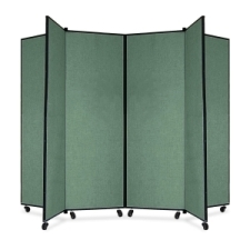 Screenflex Panel Mobile Display Tower 69, 69 x 84, green polyester fabric, polyester fabric, screenflex, scratch resistant, steel, panel mobile display tower, bulletin board, screenflex, cds606cn, 1 each, floor standing, green, art, lobby display, presentation, scrflxcds606cn, 44111907