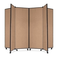 Screenflex Panel Mobile Display Tower 69, 69 x 84, oatmeal polyester fabric, polyester fabric, screenflex, scratch resistant, steel, panel mobile display tower, bulletin board, screenflex, cds606co, 1 each, floor standing, oatmeal, art, lobby display, presentation, scrflxcds606co, 44111907