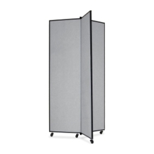 Screenflex Panel Mobile Display Tower 77, 77 x 36, gray polyester fabric, polyester fabric, screenflex, scratch resistant, steel, panel mobile display tower, bulletin board, screenflex, cds683cg, 1 each, floor standing, gray, art, lobby display, presentation, scrflxcds683cg, 44111907