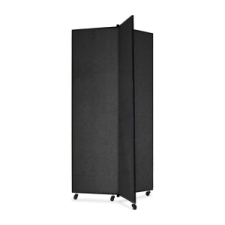 Screenflex Panel Mobile Display Tower 77, 77 x 36, black polyester fabric, polyester fabric, screenflex, scratch resistant, steel, panel mobile display tower, bulletin board, screenflex, cds683sx, 1 each, floor standing, black, art, lobby display, presentation, scrflxcds683sx, 44111907