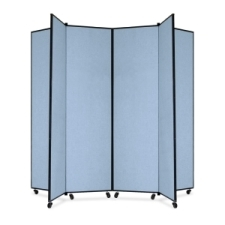 Screenflex Panel Mobile Display Tower 77, 77 x 84, blue polyester fabric, polyester fabric, screenflex, scratch resistant, steel, panel mobile display tower, bulletin board, screenflex, cds686cb, 1 each, floor standing, blue, art, lobby display, project, scrflxcds686cb, 44111907
