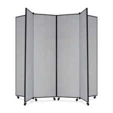 Screenflex Panel Mobile Display Tower 77, 77 x 84, gray polyester fabric, polyester fabric, screenflex, scratch resistant, steel, panel mobile display tower, bulletin board, screenflex, cds686cg, 1 each, floor standing, gray, art, lobby display, project, scrflxcds686cg, 44111907