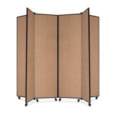 Screenflex Panel Mobile Display Tower 77, 77 x 84, oatmeal polyester fabric, polyester fabric, screenflex, scratch resistant, steel, panel mobile display tower, bulletin board, screenflex, cds686co, 1 each, floor standing, oatmeal, art, lobby display, project, scrflxcds686co, 44111907
