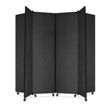 Screenflex Panel Mobile Display Tower 77, 77 x 84, black polyester fabric, polyester fabric, screenflex, scratch resistant, steel, panel mobile display tower, bulletin board, screenflex, cds686sx, 1 each, floor standing, black, art, lobby display, project, scrflxcds686sx, 44111907