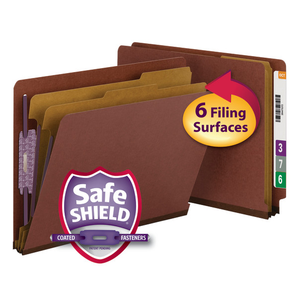 Smead 26860 End Tab Classification Folders with SafeSHIELD Coated Fastener Technology 1 box Hanging Folders