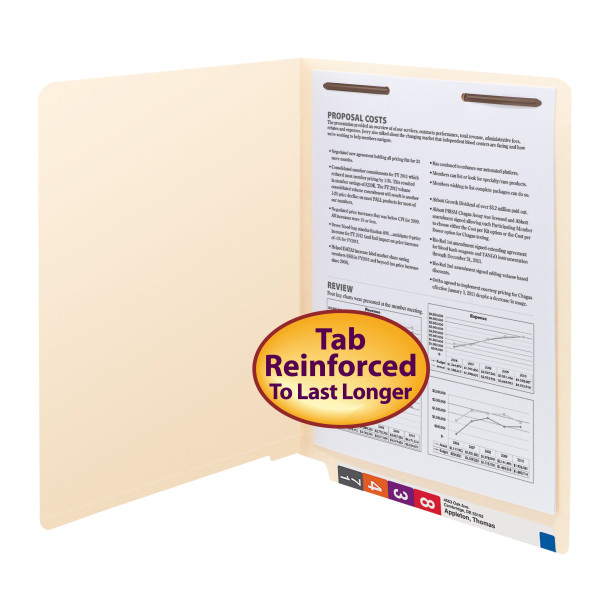 Smead 34110 End Tab Fastener Folders with Shelf-Master Reinforced Tab 1 box