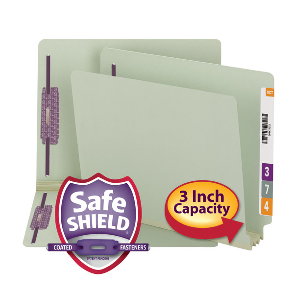 Smead 34725 End Tab Pressboard Fastener Folders with SafeSHIELD Coated Fastener Technology 1 box