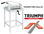 Triumph 4305 Manual Ream Paper Cutter Value Kit with Stand, 1 box cutting sticks and 1 extra blade Triumph 4305 Manual Ream Paper Cutter Value Kit with Stand 1 box cutting sticks and 1 extra blade