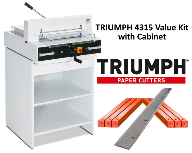 Triumph 4315 Semi-Auto Electric Paper Cutter Value Kit with Digital Display, cabinet, 1 box cutting sticks and 1 extra blade  Triumph 4315 Semi-Auto Electric Paper Cutter Value Kit with Digital Display, cabinet, 1 box cutting sticks and 1 extra blade