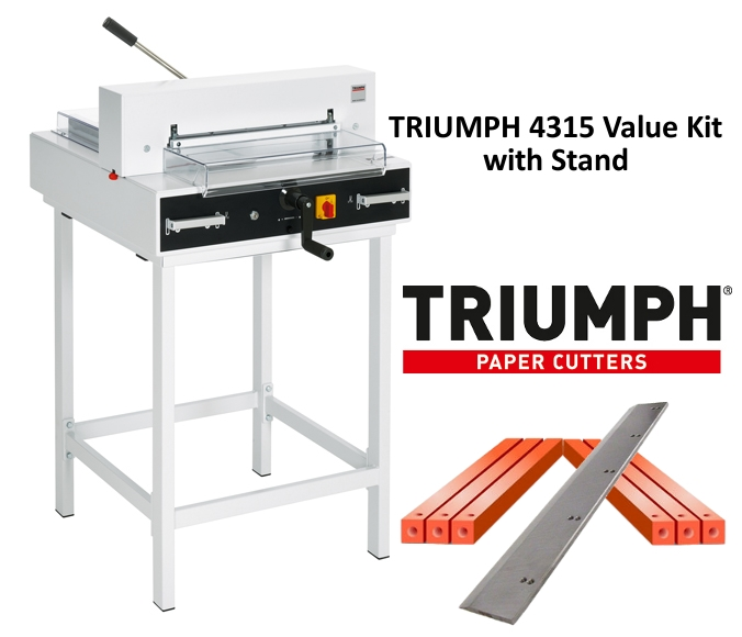 Triumph 4315 Semi-Auto Electric Paper Cutter Value Kit with Digital Display, stand, 1 box cutting sticks and 1 extra blade Triumph 4315 Semi-Auto Electric Paper Cutter Value Kit with Digital Display, stand, 1 box cutting sticks and 1 extra blade