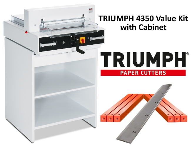 Triumph 4350 Semi-Auto Electric Paper Cutter Value Kit with Digital Display, cabinet, 1 box cutting sticks and 1 extra blade Triumph 4350 Semi-Auto Electric Paper Cutter Value Kit with Digital Display, cabinet, 1 box cutting sticks and 1 extra blade