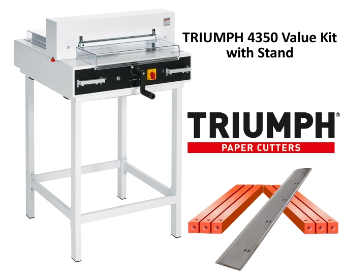 Triumph 4350 Semi-Auto Electric Paper Cutter Value Kit with Digital Display, stand, 1 box cutting sticks and 1 extra blade Triumph 4350 Semi-Auto Electric Paper Cutter Value Kit with Digital Display, stand, 1 box cutting sticks and 1 extra blade