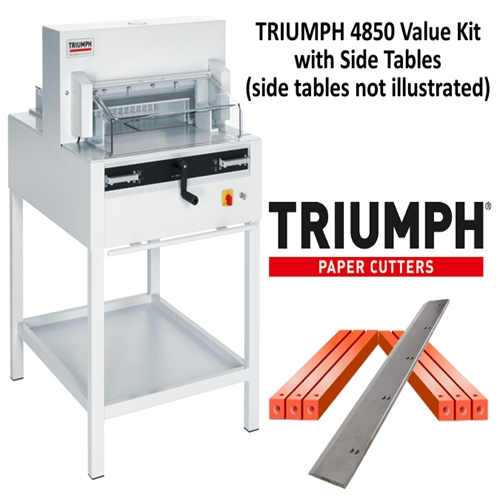 "Triumph 4850 Automatic 18-5/8"" Paper Cutter Value Kit with 1 box cutting sticks and 1 extra blade - TRI 4850 CUTTER VALUE KIT"