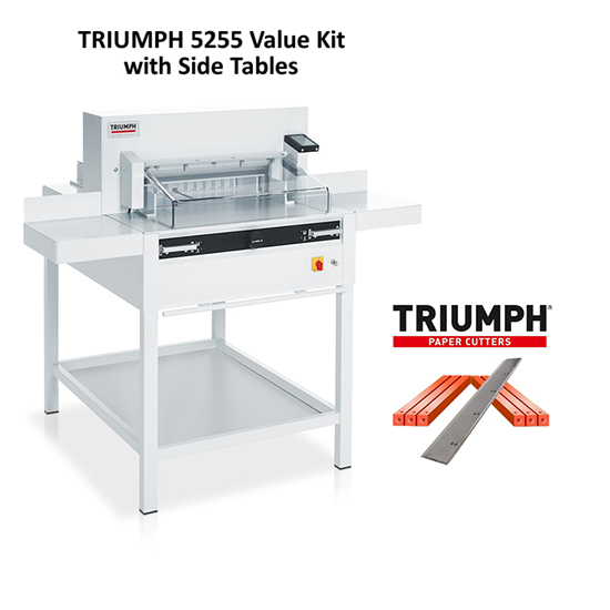 "Triumph 5255 Automatic-Programmable 20-3/8"" Paper Cutter Value Kit with 1 box cutting sticks and 1 extra blade Triumph 5255 Automatic-Programmable 20-3/8"" Paper Cutter Value Kit with 1 box cutting sticks and 1 extra blade"