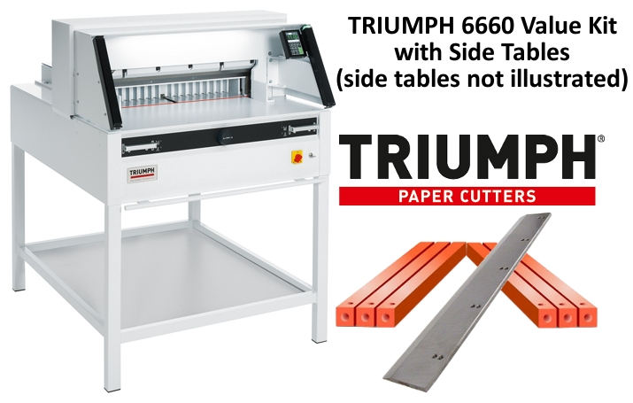 "Triumph 6660 Automatic-Programmable 25.5"" Paper Cutter with Light Safety Beams Value Kit with 1 box cutting sticks and 1 extra blade Triumph 6660 Automatic-Programmable 25.5"" Paper Cutter with Light Safety Beams Value Kit with 1 box cutting sticks and 1 extra blade"