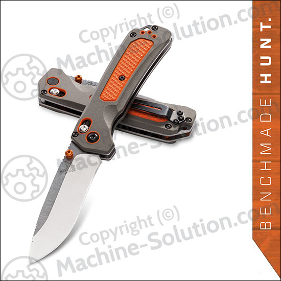 "Benchmade 15061 Grizzly Ridge Folding Knife 3.5"" S30V Satin Plain Blade, Orange Grivory and Versaflex Handles"