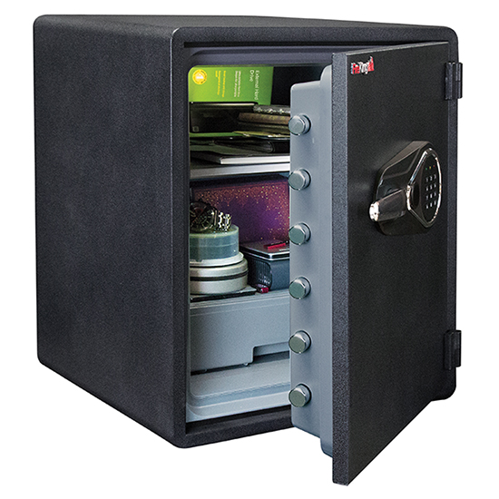 FireKing KY1915-1GRFL Fingerprint Fire Proof Business Safe, 6 Locking Bolts - KY1915-1GRFL